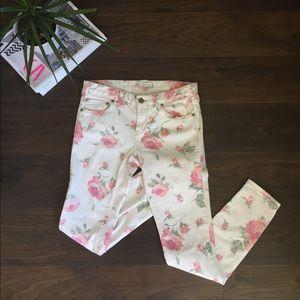 Free People Pink Floral Jeans